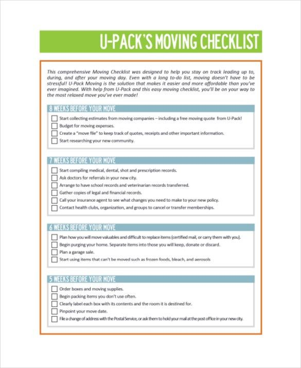 Free Checklist Template Word 30 Word Checklist Template Examples - moving checklist template