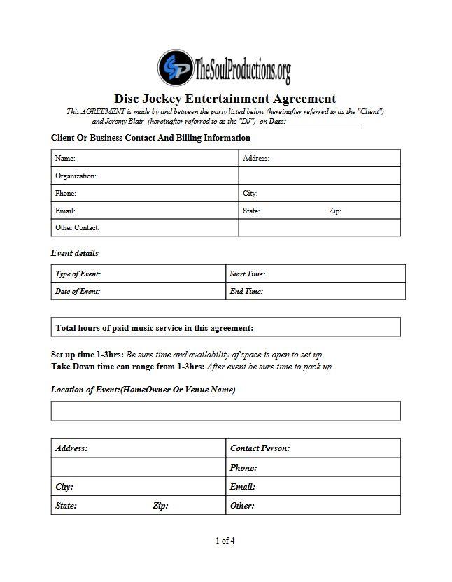 Entertainment Proposal Template Entertainment Business Proposal - dj contract template