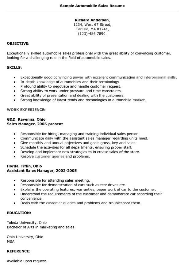 resume for car salesman