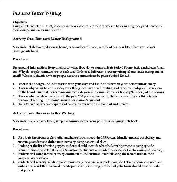 sending business letters