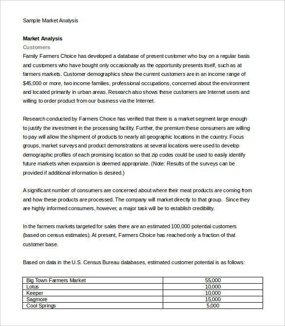 market analysis sample