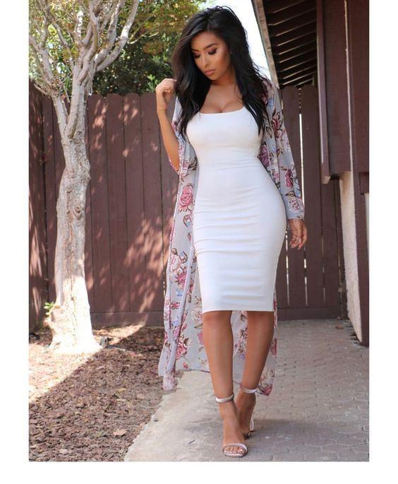 White dress, floral kimono and sandals