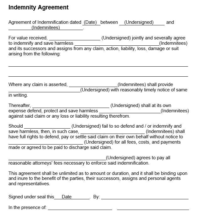 Indemnity Agreement Template Indemnity Agreement Template Form - agreement templates