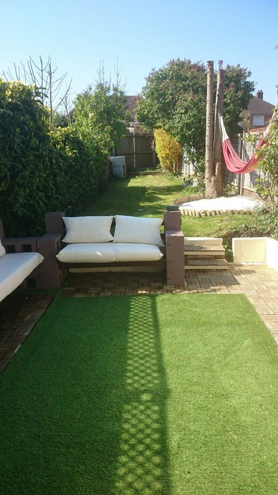 Concrete blocks benches diy cushions artificial grass