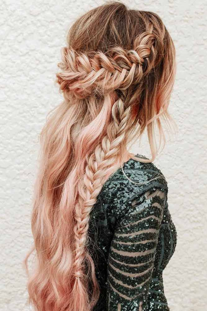 Half Up Half Down Hairstyle With Braids ★ Bohemian hairstyles are nothing but the embodiment of wildness and femininity! Want your hair to look effortless and cute? Dive into our gallery to keep up with boho trends: everything from short curly updo ideas to easy long braid styles is here! #bohemianhairstyles #bohemianhair #summerhairstyles #festivalhairstyles #boho #bohostyle