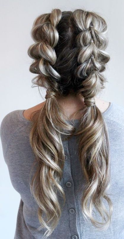 Lovely double braids for long blonde hair