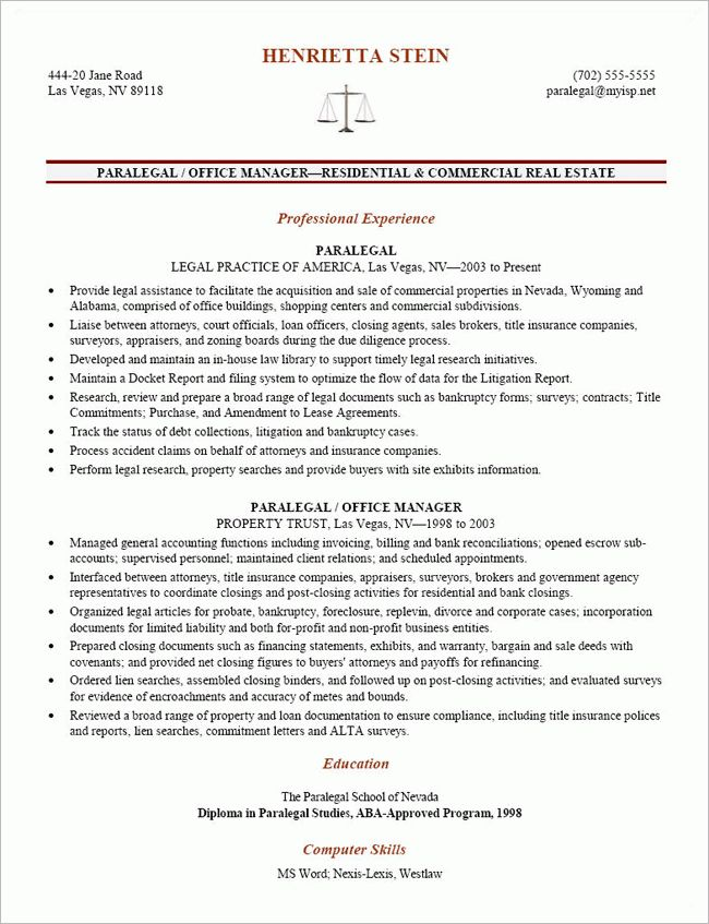 Example Of Paralegal Resume - Examples of Resumes - litigation paralegal resume