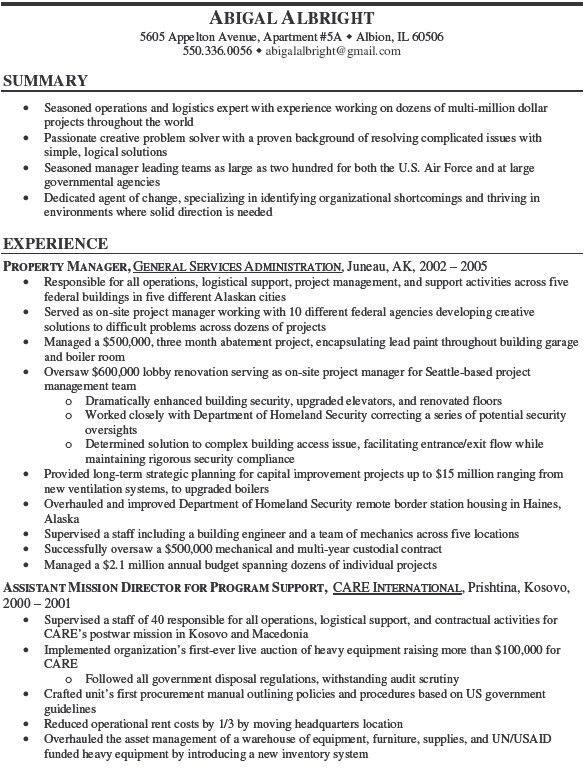 government property administrator sample resume resume-template
