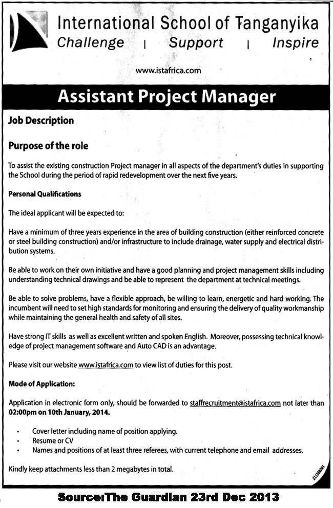 cover letter for assistant project manager