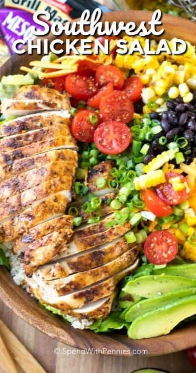 Southwest Salad is a packed perfectly seasoned grilled chicken, corn, avocado, beans, and romaine lettuce are all tossed together in a lime vinaigrette.#ad @McCormickSpice #spendwithpennies #southwestsalad #southwesternsalad #chickensalad #grilledchicken #grilledchickensalad #summersaladrecipe #easyrecipe