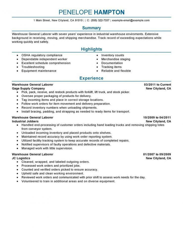 Resume Objective General Labor General Resume Examples General - warehouse resume objectives