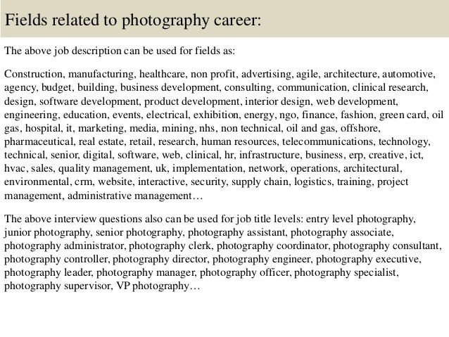 Job Description Of A Photographer Photographer Job Description 10 - photographer job description