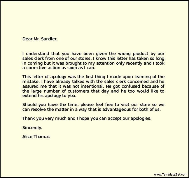 Professional Apology Letter Apology Letter Template Free