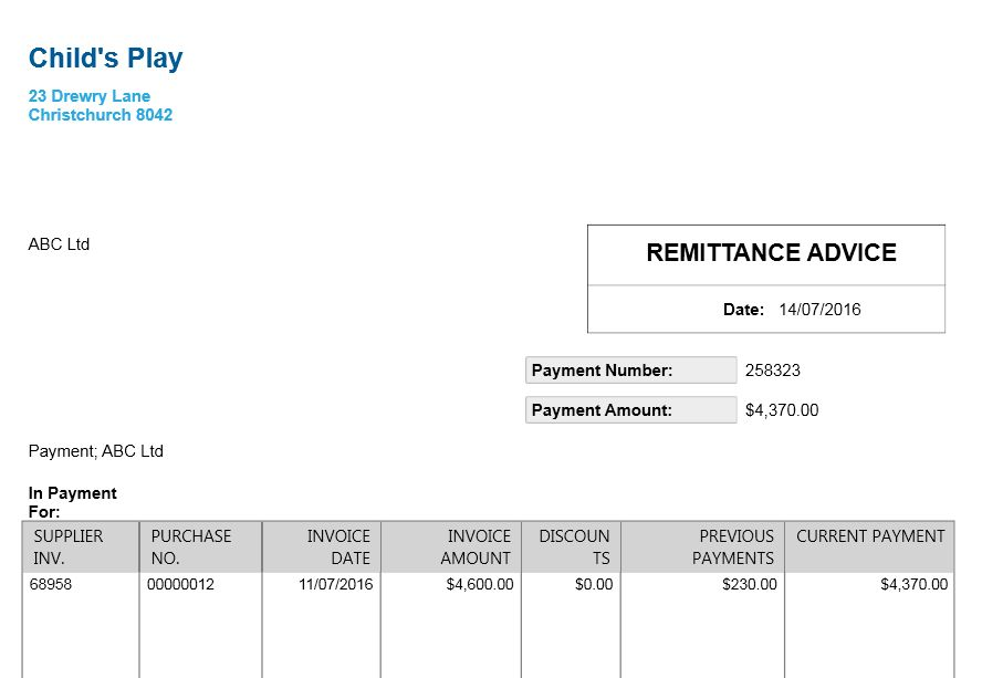 remittance advice template free