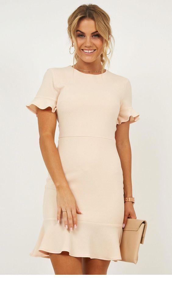 Nice beige simple dress and bag