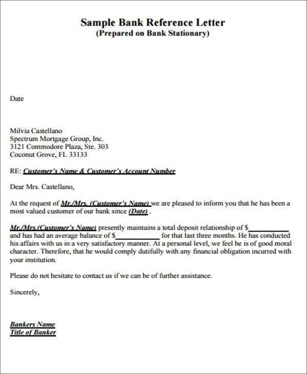 6 Bank Reference Letters Samples Format Examples. Patent Analyst . To Bank Reference Letter Sample