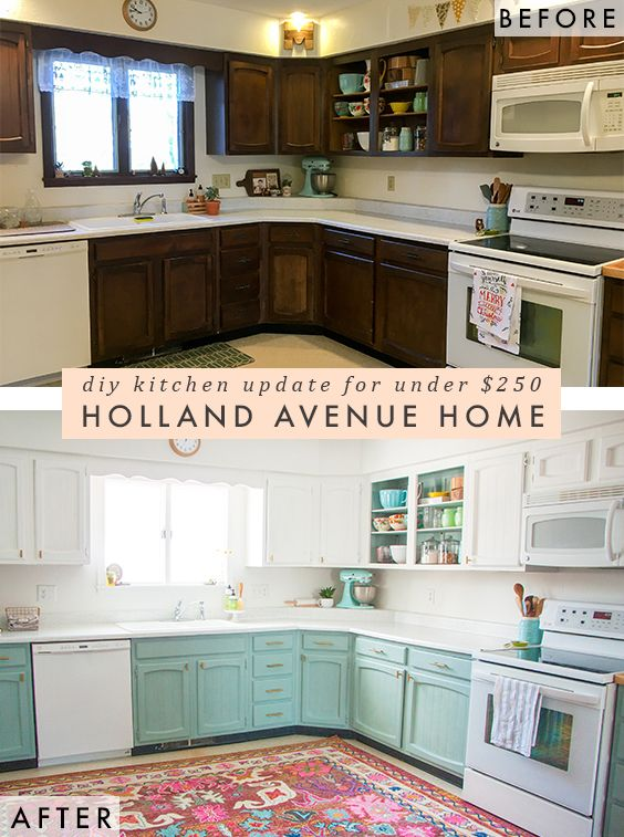 $250 kitchen makeover with resources of where to find the knobs and paint