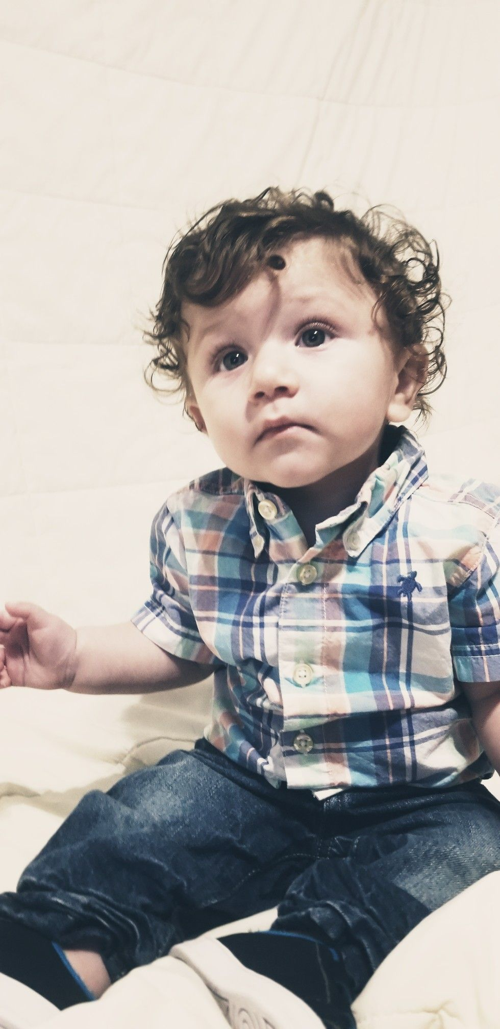 Perfect Baby Boy Baby With Long Curly Hair Blue Eyed Baby 6 Months