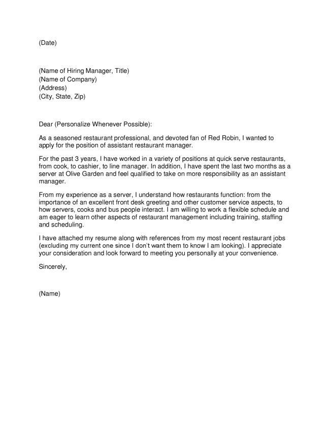 Cover Letter Restaurant Manager Manager Cover Letter, Manager - cover letter for restaurant job