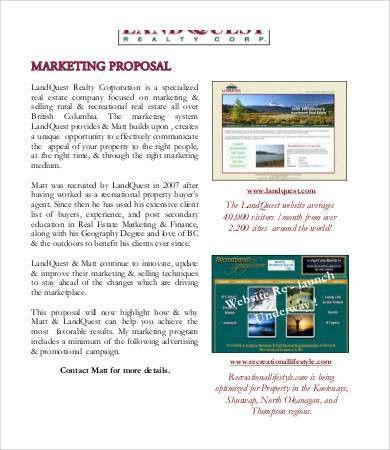 Marketing Proposal Samples Sample Marketing Proposal Template 6 - real estate proposal template