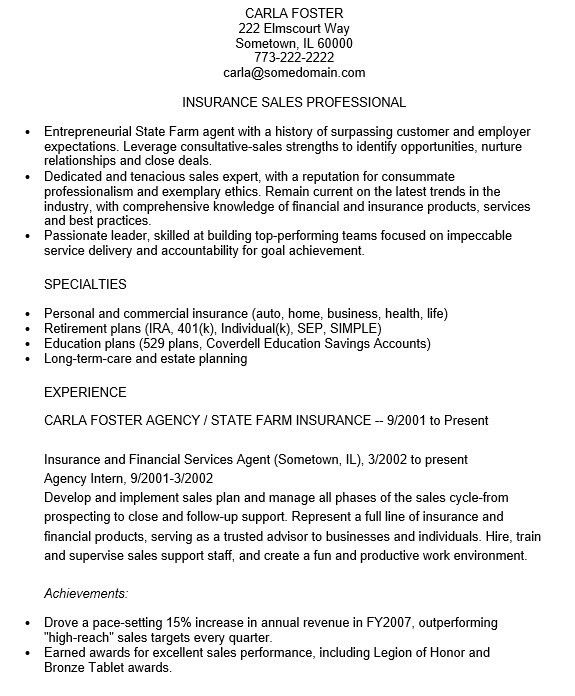 sample insurance professional resume agent resume example sample insurance sales resume