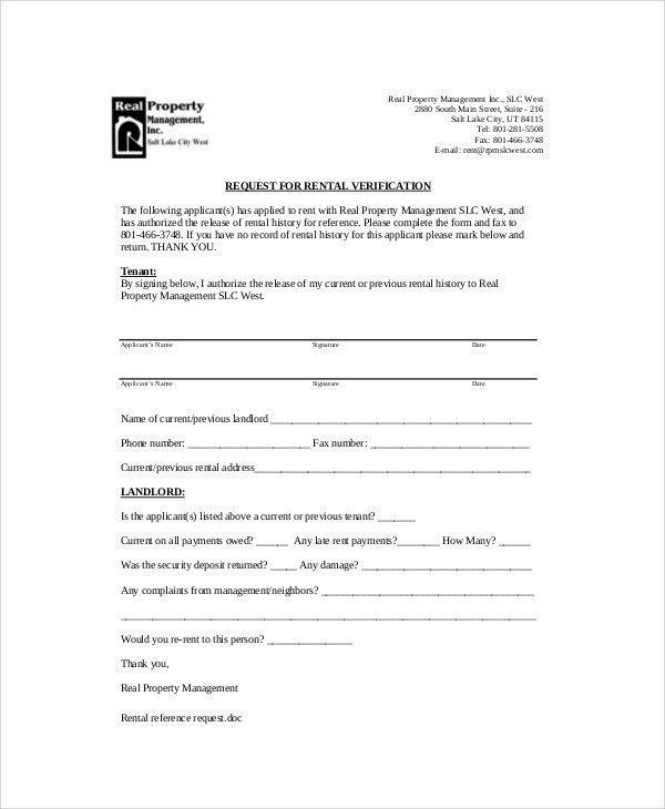 Sample Landlord Reference Letter Template sample employer - landlord verification form