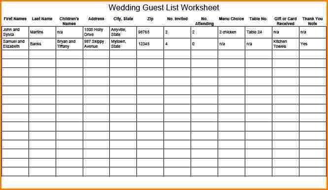 Wedding Planning Guest List Template 7 Free Wedding Guest List - wedding list