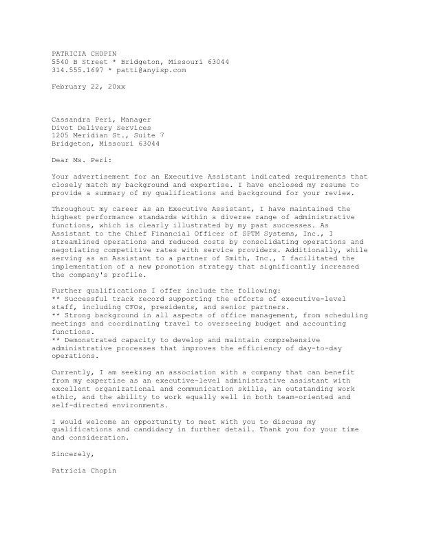Ceo Cover Letter Samples Letter Example Executive Or Ceo - case manager cover letter
