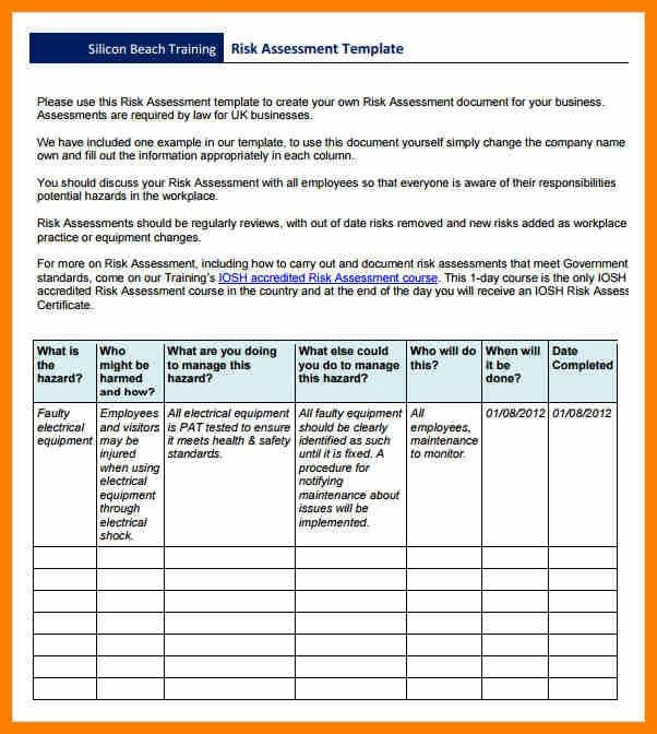 Risk Evaluation Template Risk Assessment Template Free Word - health risk assessment template