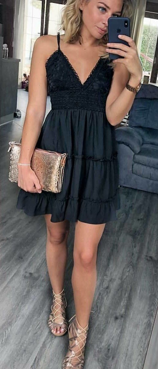 black spaghetti strap dress #spring #outfits