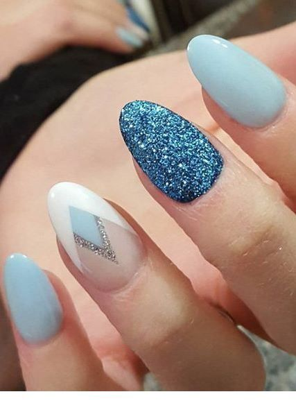 Amazing blue gel nails with glitter and more
