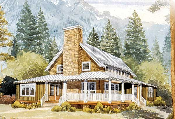 Left side of Rustic House Plan 56152AD  3 beds 2 baths ~ 2,000 sq. ft. PLUS an unfinished loft overlooking the great room  #readywhenyouare