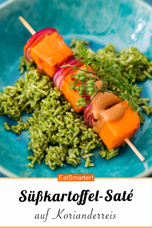 Süßkartoffel-Saté-Spieße auf Korianderreis - smarter - Kalorien: 589 kcal - Zeit: 1 Std. | eatsmarter.de    #gesundessen #gesunderezepte