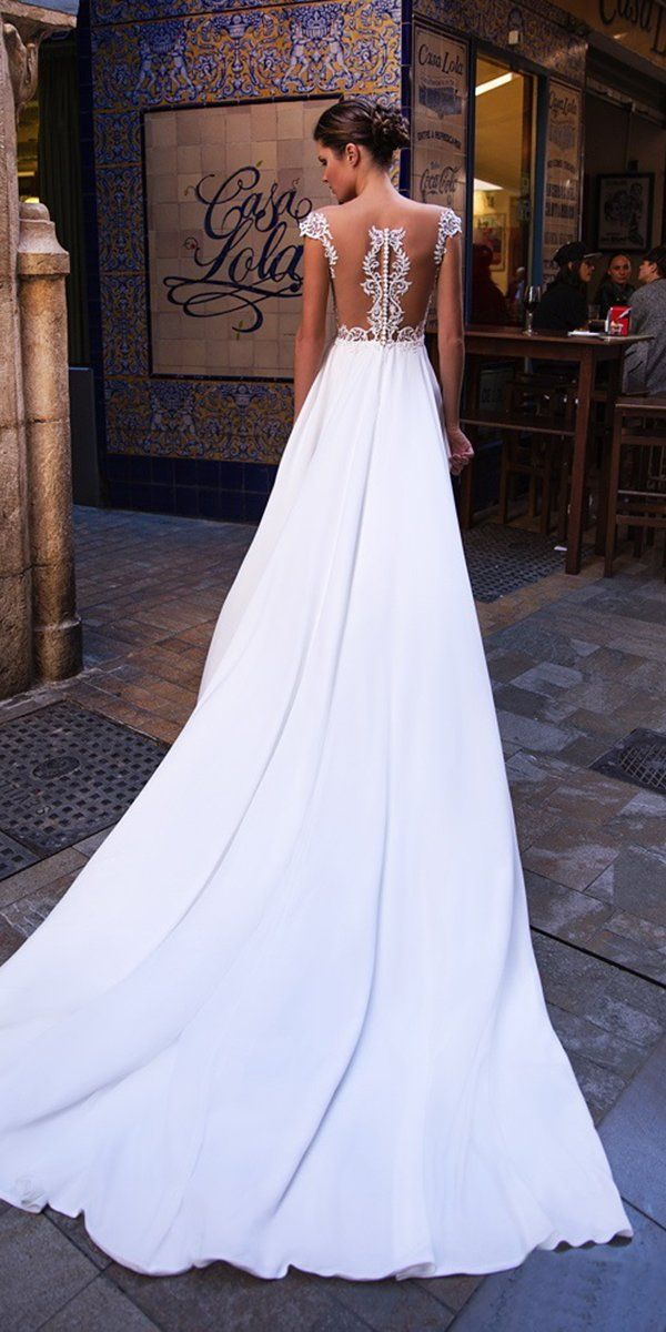 27 Stunning Trend: Tattoo Effect Wedding Dresses ❤ tattoo effect wedding dresses a line illusion lace with train giovanna alessandro #weddingforward #wedding #bride