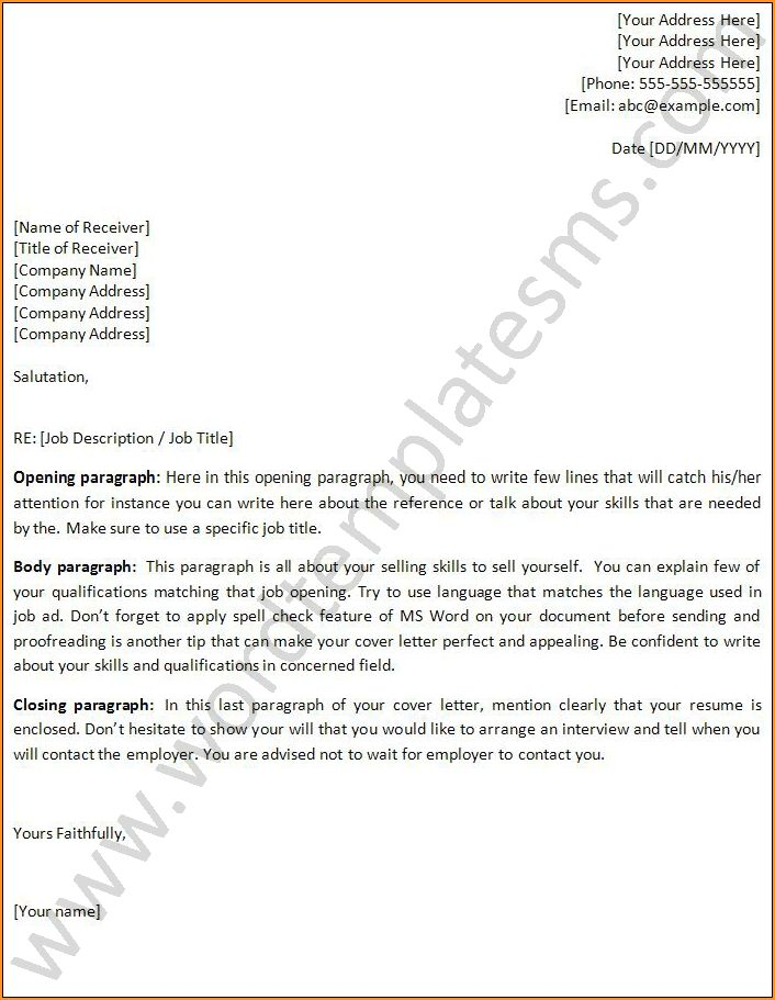 Job Cover Letter Template Word Resume Cover Letter Template For - cover letter template word