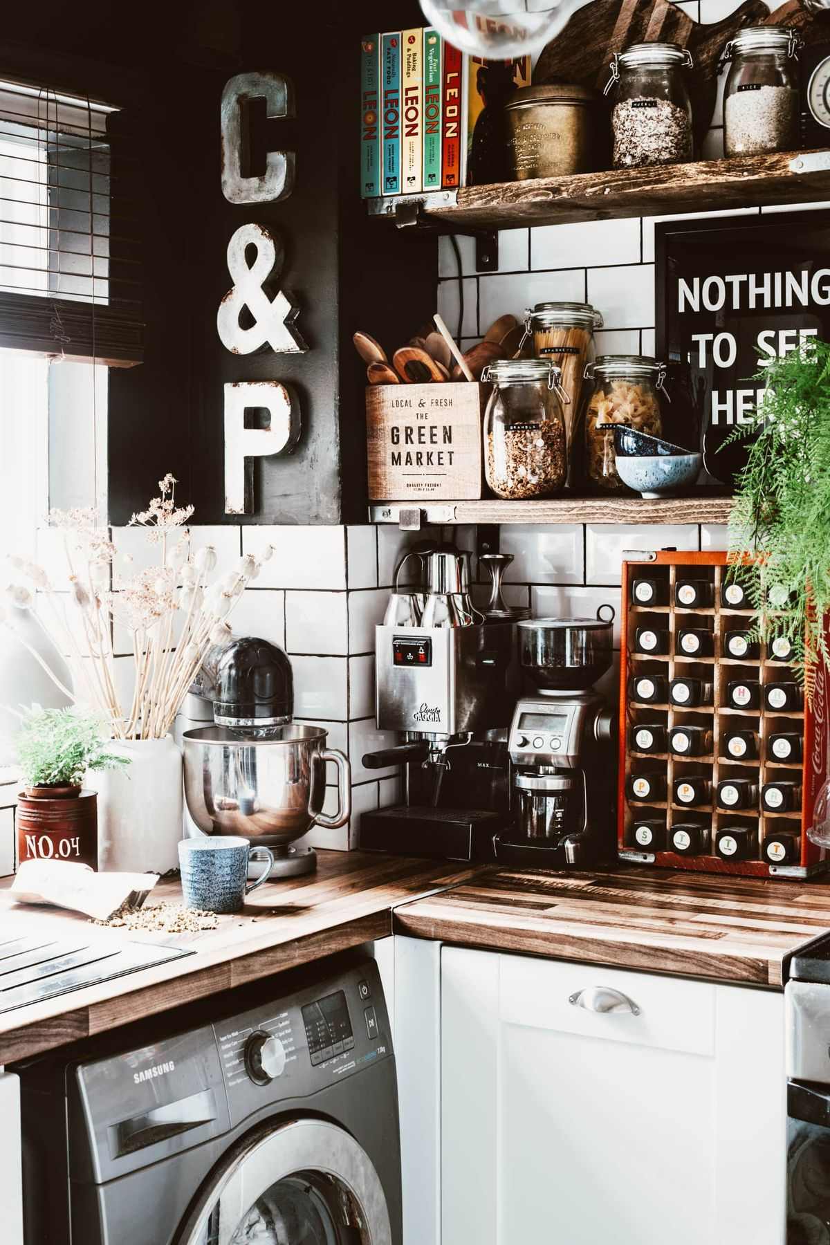A Delightfully Dark & Dramatic DIY Rental Home: gallery image 11
