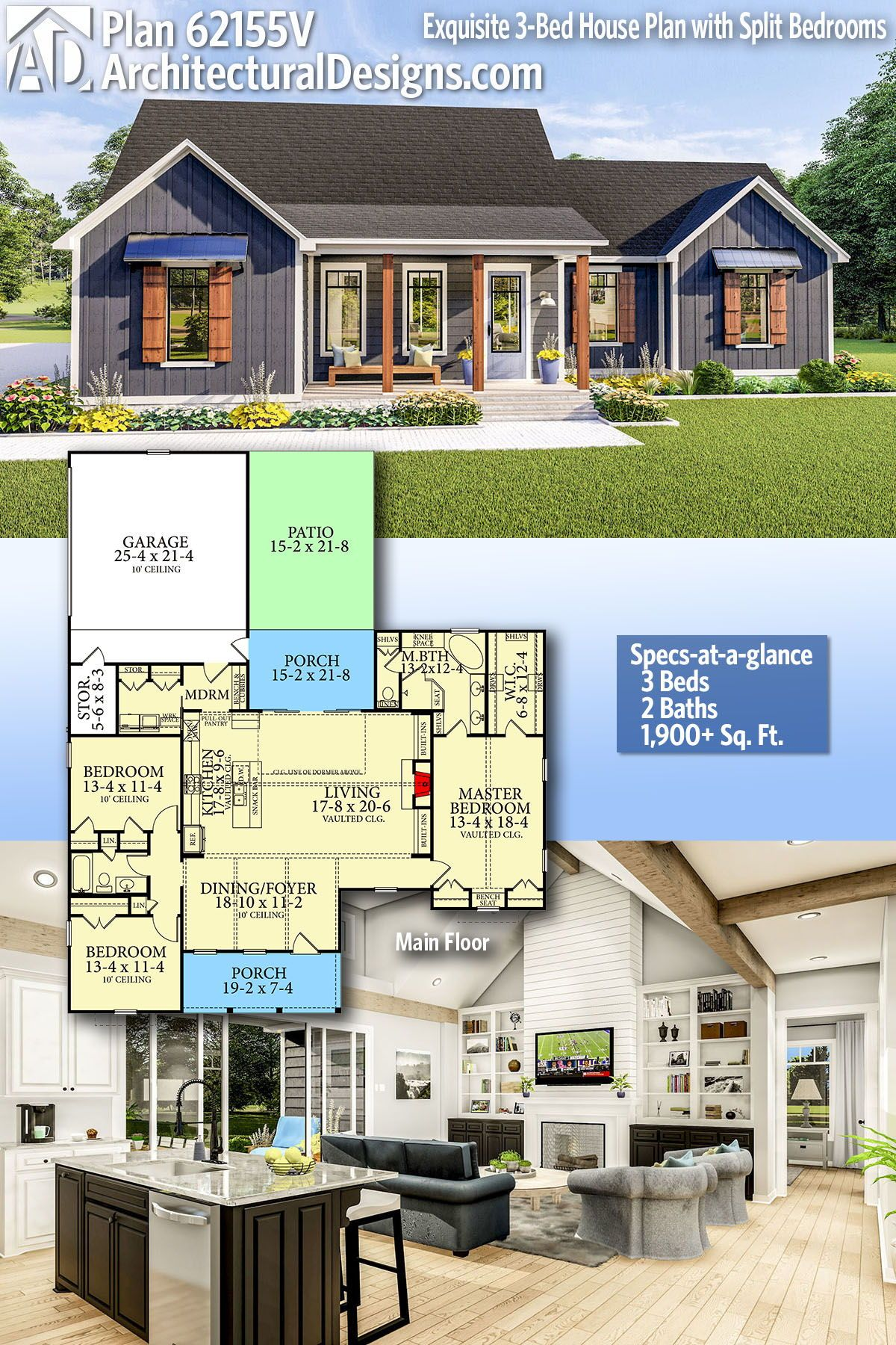 Architectural Designs Home Plan 62155V gives you 3 bedrooms, 2 baths and 1,900+ sq. ft. Ready when you are! Where do YOU want to build? #62155V #adhouseplans #architecturaldesigns #houseplans #architecture #newhome #modern #farmhouse #newconstruction #newhouse  #homeplans #architecture #home #homesweethome