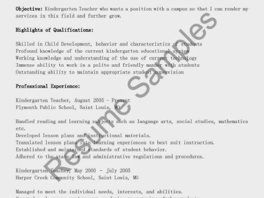 Kindergarten Teacher Resume Example - Examples of Resumes
