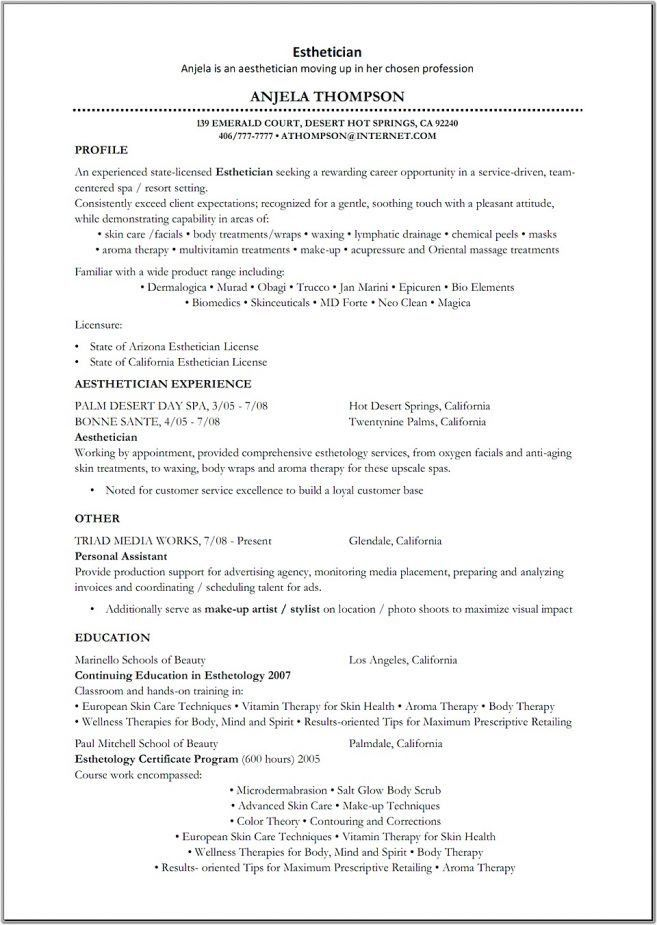 Objective For Esthetician Resume. Esthetician Resume Objective
