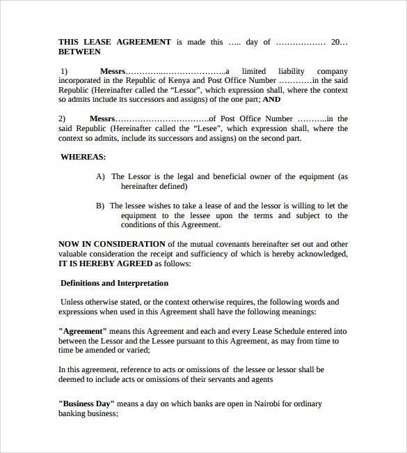 Equipment Lease Form Template 12 Equipment Rental Agreement - equipment lease agreement template