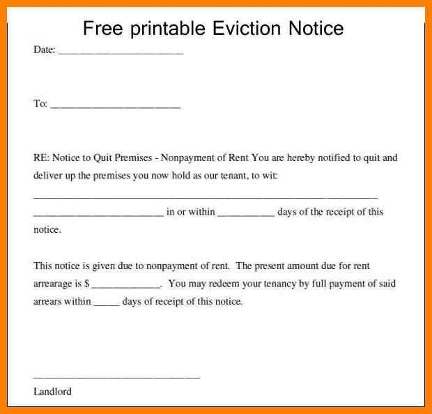 Free Printable Eviction Notice Forms free kansas 3 day notice for - free eviction template