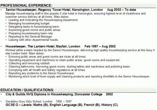resume objective for housekeeping hotel housekeeper resume