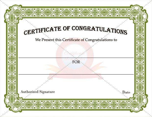 Congratulations Certificate Template Word