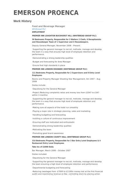 Food And Beverage Attendant Resume Objective 7 Food And Beverage