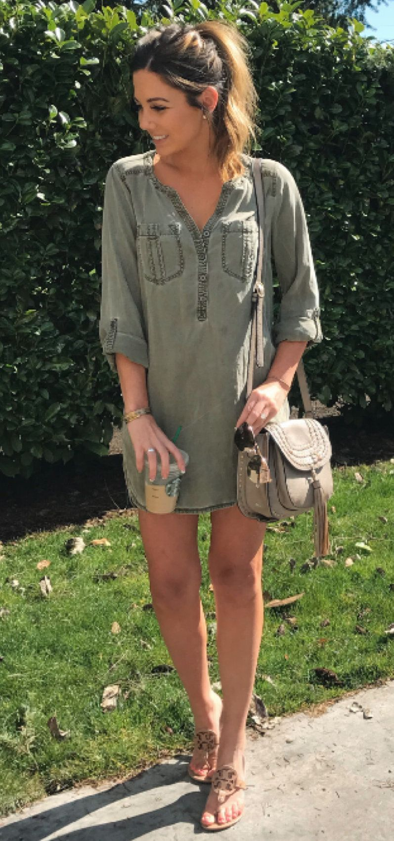 gray chambray shirt #spring #outfits