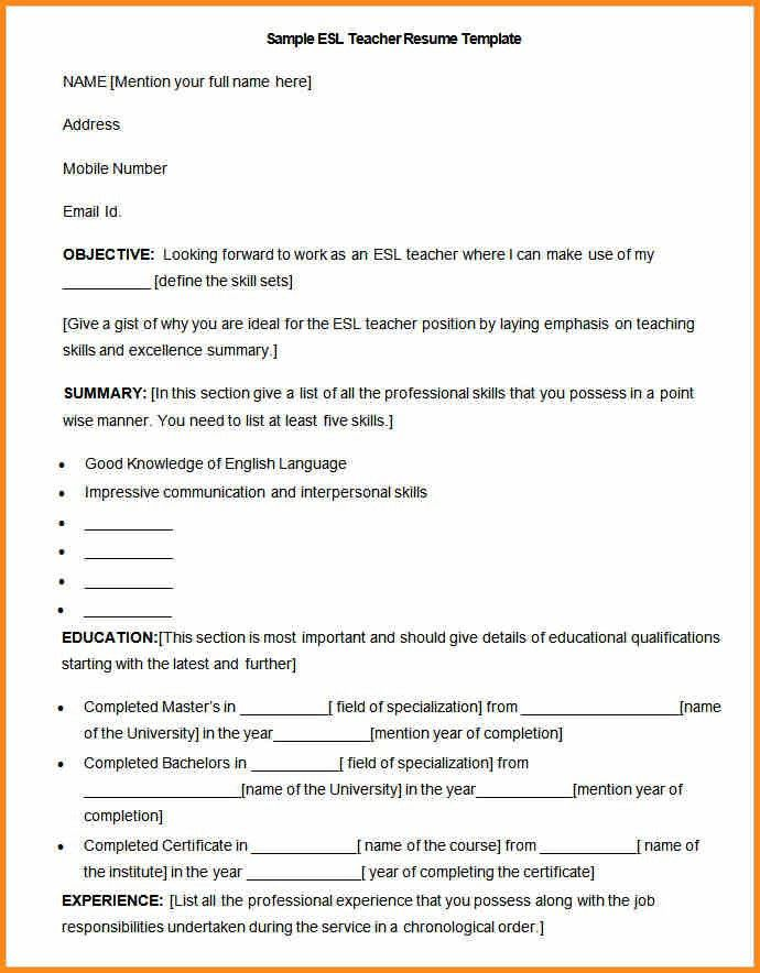 sample esl teacher resume resume for an esl teacher susan ireland