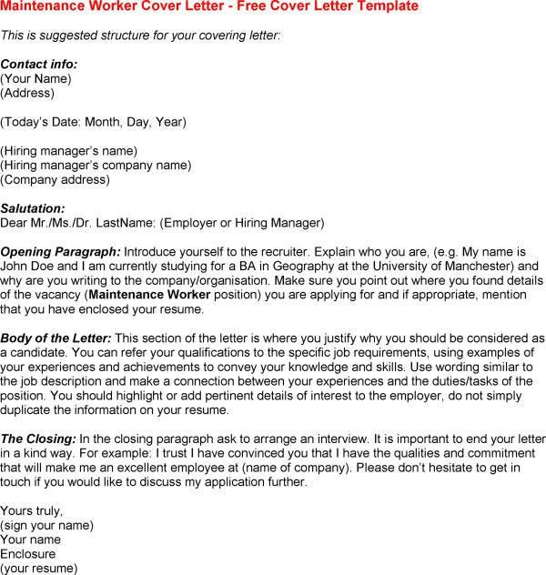 maintenance worker cover letter professional - Maintenance Cover Letter