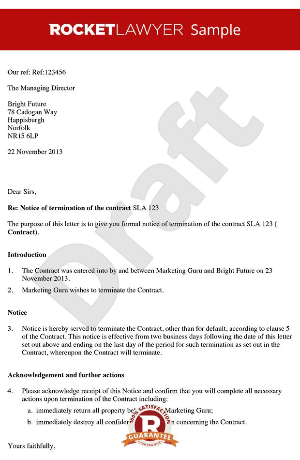 Contract Termination Letter Template Contract Termination Letter - termination contract sample