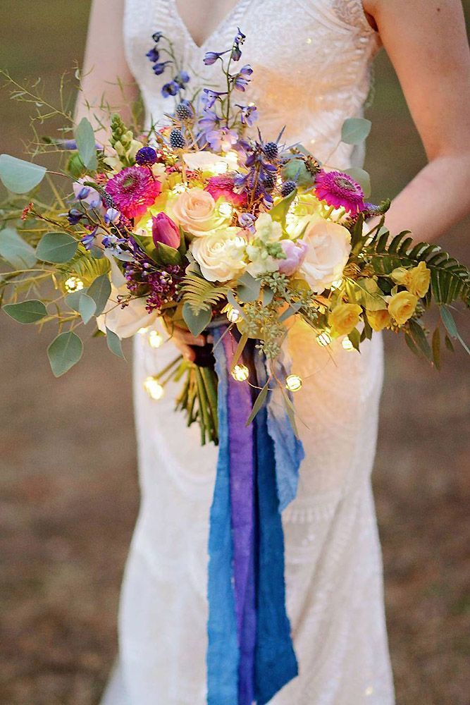 39 Wedding Light Ideas That Glow Magnificent ❤ wedding light bouquet of the bride with luminous elements jessica via instagram #weddingforward #wedding #bride