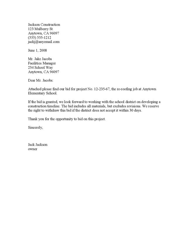 Construction Proposal Cover Letter Bid European  Bid Proposal Letter
